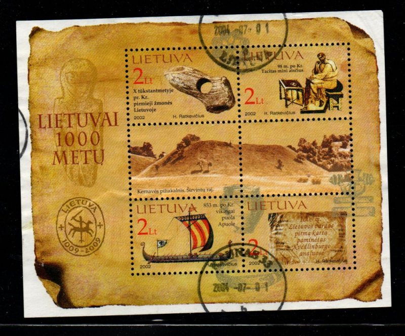 Lithuania Sc 772 2004 1000th Anniversary stamp sheet used