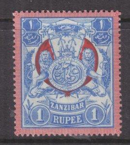 ZANZIBAR, 1904 1r. Blue & Red, watermark upright, lhm.