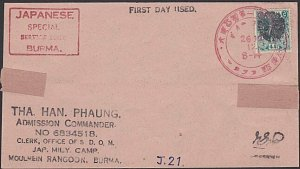 BURMA JAPAN OCCUPATION WW2 - old forged stamp on faked cover................F458