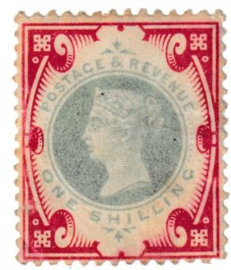 SG214 1/- Queen Victoria 1900 (colour change) green and carmine stamp MM