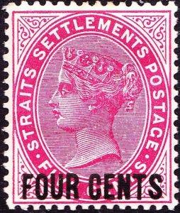 MALAYA STRAITS SETTLEMENTS 1899 QV 4c on 5c Carmine SG109 MH