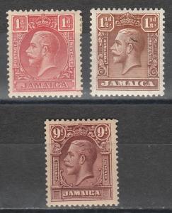 JAMAICA 1929 KGV SET 1D DIE II
