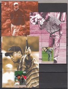 Myanmar, 2001 Local issue. Golfer Tiger Woods on 3 s/sheets