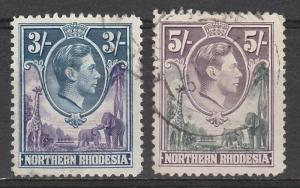 NORTHERN RHODESIA 1938 KGVI GIRAFFE AND ELEPHANT 3/- & 5/- USED