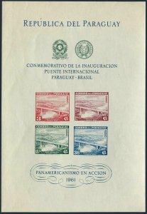 Paraguay C277a sheet,MNH.Michel Bl.5. Bridge Paraguay-Brazil, 1961.