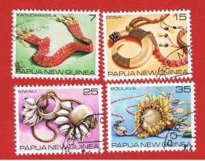 Papua #499-502 VF used  Shells  Free S/H