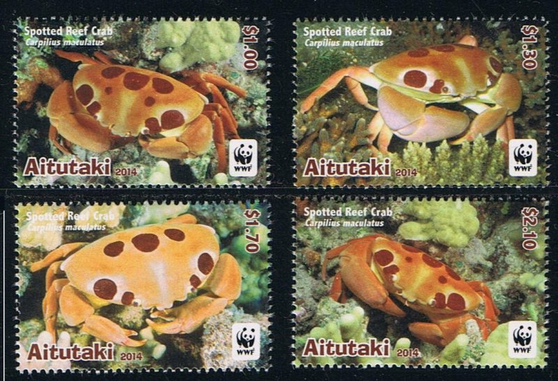 Aitutaki MNH 923-6 Spotted Reef Crabs WWF Marine Life 2014
