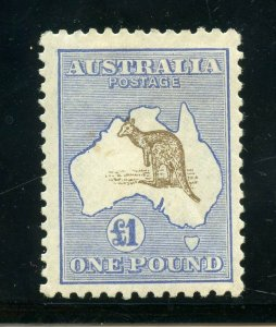 AUSTRALIA 1916 KANGAROO ONE POUND CHOCOLATE & DULL BLUE SCOTT#58 MINT HINGED