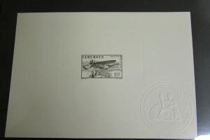 Cameroun # C11 Large 10F Color Proof on Card Early Airmail