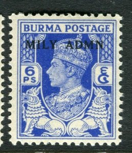 BURMA; 1945 early GVI MILY ADMIN issue fine Mint hinged 6p. value