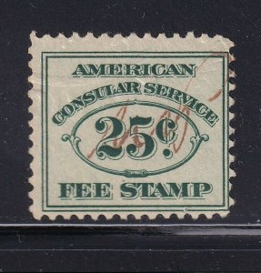 RK1 F-VF used consular revenue stamp with nice color cv $ 120 ! see pic !