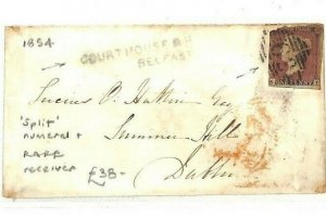 GB Ireland *COURTHOUSE BELFAST* Penny Red 1854 Cover SPLIT *62* Numeral AY28