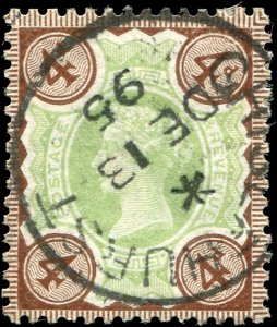 Great Britain - Scott #116 - 1887 QV 4d Brown & Green - Used
