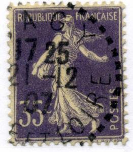 FRANCE - 1907 - CàD Beau DISTRIBUTION  SAGY / SAONE-ET-LOIRE  sur Yv.136 35c