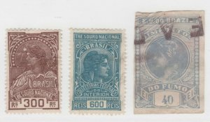 Brazil Cinderella revenue fiscal Stamps 6-21-21- as seen corner crease on Match