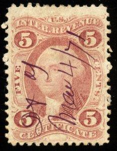 v23 U.S. Revenue Scott #R24c 5c Certificate silk paper. 1871 manuscript cancel