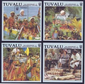 Tuvalu – Sc#507-10 1988 Independence Queen 4 MS opt specimen