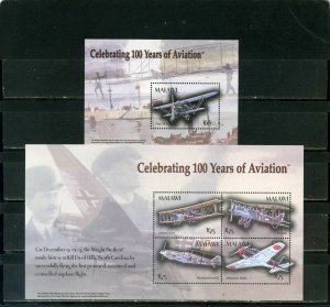 MALAWI 2004 HISTORY OF AVIATION SHEET OF 4 STAMPS & S/S MNH