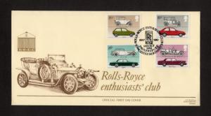 1982 CARS OFFICIAL FIRST DAY COVER + ROLLS ROYCE ENTHUSIASTS SPECIAL CANCELS