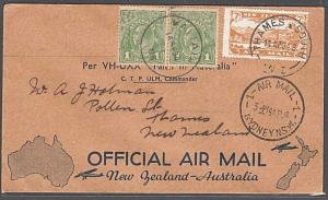 NEW ZEALAND TO AUSTRALIA 1934 Capt Ulm double flight cover.................55158