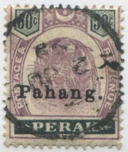 Malaya Pahang 1898 Pahang surcharged on Perak 50 cents Tiger used