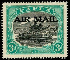 AUSTRALIA - Papua SG113, 3d sepia-black & bright blue-green, M MINT. Cat £50.