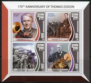 SIERRA LEONE 2017  170th BIRTH OF THOMAS EDISON SHEET MINT NH