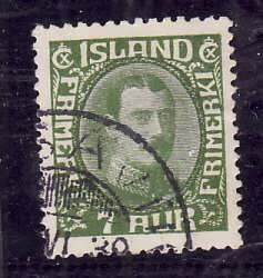 Iceland-Sc#180- id2-used 7a yellow green-Christian X-1933-