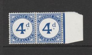 Gibraltar 1956 postage due, 4d Broken D, in pair with normal, UM/MNH SG D3a