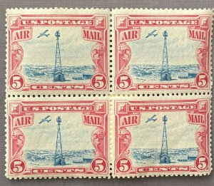 5c Air mail 1928 Beacon on Rocky Mountain MNH OG Blk of 4