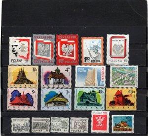 POLAND 1974 YEAR SET OF 19 STAMPS MNH