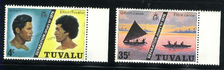 Tuvalu #16,18  Mint NH VF 1976 PD