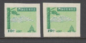Korea Sc 204-205 MNH. 1954 Erosion Control, complete imperf set, no gum, VF