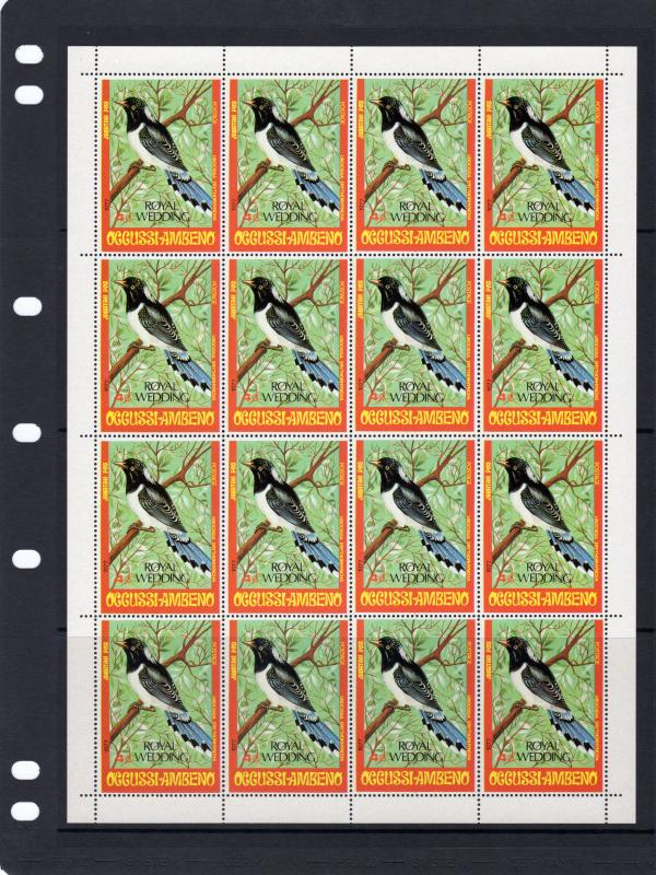 Timor (Ocussi-Ambeno) 1981  Birds ovpt.Royal Wedding SG# RW1 Mini-Sheetlets (2)