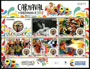 HERRICKSTAMP NEW ISSUES COLOMBIA Sc.# 1477 Barranquilla 2018 Carnival Sheetlet