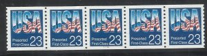 2606  23c Coil Strip of 5 with Pl#1111 MNH F/VF Centering