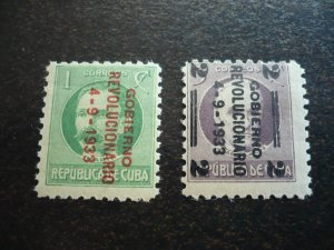 Stamps - Cuba - Scott# 317-318 - Mint Hinged Set of 2 Stamps Overprinted