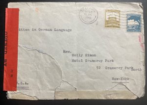 1940 Tel Aviv Palestine Censored Cover To Hotel Gramercy Park New York USA