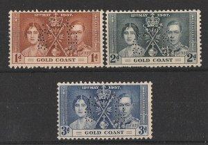 GOLD COAST 1937 KGVI Coronation set 1d-3d SPECIMEN. MNH **.