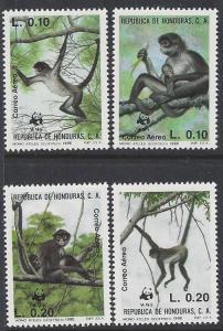 Honduras #C789-92 mint set air mail, WWF monkeys issued 1990