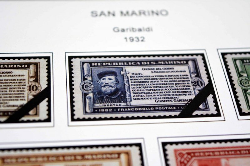 COLOR PRINTED SAN MARINO [CLASS.] 1877-1943 STAMP ALBUM PAGES (24 illust. pages)