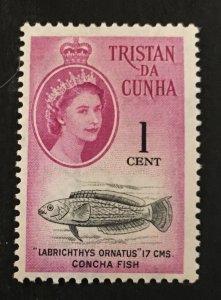 Tristan Da Cunha Scott 29 QEII Concha Fish One Cent-Mint NH