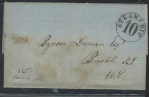 JAMAICA (P0112B) 1855 STAMPLESS STEAMSHIP 10 LETTER TO USA