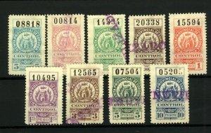 Cordoba 1902 Range of Control de Guias 5c to 10Pesos (9v) Mint and FU