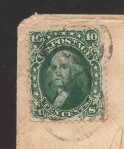 US#62B Dark Green - On Cover - Certified Genuine