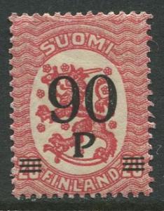 Finland - Scott 125 - Arms of Republic Overprint -1921- MVLH - Single 90p Stamp