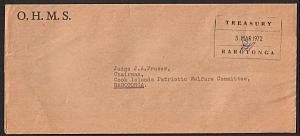 COOK IS 1972 Local Rarotonga official cover : Treasury frank..............14908W