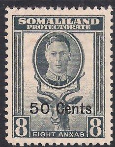 Somaliland 1951 KGV1 50cts on 8 Annas Grey MM SG 130 ( K619 )