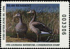 LOUISIANA #7 1995 STATE DUCK STAMP SPECKELED BELLY GOOSE By John Bertrand