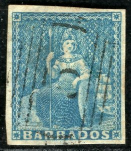 BARBADOS QV Stamp SG.3 (1d) Blue BRITANNIA Used *5* Numeral Cat £190- YBLUE147